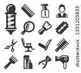barber shop salon icons set on... | Shutterstock .eps vector #1351205855