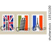 three postmarks with sights of... | Shutterstock .eps vector #13512100