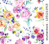 pink rose bouquet botanical...   Shutterstock . vector #1351211915