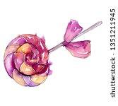 hard candy lollipop. watercolor ...   Shutterstock . vector #1351211945