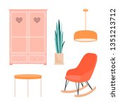 a set of items for the room on... | Shutterstock .eps vector #1351213712