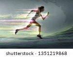 runner with surreal light... | Shutterstock . vector #1351219868