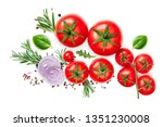 fresh tomato  herbs and spices... | Shutterstock . vector #1351230008