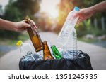 people hand holding garbage... | Shutterstock . vector #1351245935