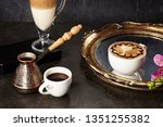 hot orange macchiato ... | Shutterstock . vector #1351255382