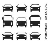 Stock vector set of cars silhouette front view bus truck vector illustration eps 1351271642