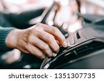 close up of senior man driving... | Shutterstock . vector #1351307735