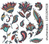 vector set of colorful henna...   Shutterstock .eps vector #1351309028