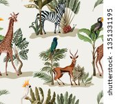 seamless pattern with exotic... | Shutterstock .eps vector #1351331195