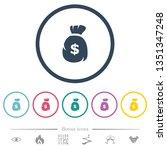 dollar money bag flat color... | Shutterstock .eps vector #1351347248