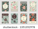 vector collection of 8 greeting ... | Shutterstock .eps vector #1351352978