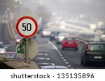 speed limit traffic sign on a... | Shutterstock . vector #135135896