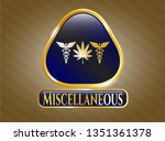 golden emblem or badge with... | Shutterstock .eps vector #1351361378