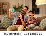 people  family and technology... | Shutterstock . vector #1351385312