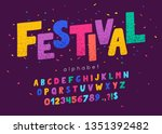 vector font and alphabet. abc ... | Shutterstock .eps vector #1351392482