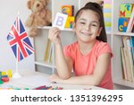 learning english. happy cute... | Shutterstock . vector #1351396295