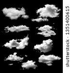 Set Cloud Isolated Black Background - Fine Art prints