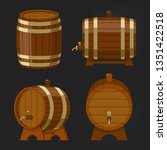 set of old wooden wine barrel... | Shutterstock .eps vector #1351422518