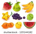 fruit and vegetable collection | Shutterstock .eps vector #135144182