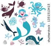 cartoon mermaid siren tropic... | Shutterstock .eps vector #1351513415
