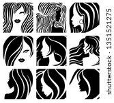 set of illustrations of woman... | Shutterstock .eps vector #1351521275
