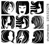 set of illustrations of woman... | Shutterstock .eps vector #1351521278