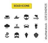 sunny icons set with car  tea...