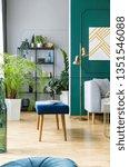 blue bench next to grey... | Shutterstock . vector #1351546088