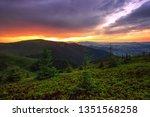 colorful summer sunrise... | Shutterstock . vector #1351568258