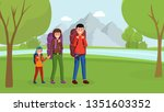 parents with son traveling... | Shutterstock .eps vector #1351603352
