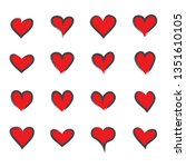 heart icons set isolated on... | Shutterstock .eps vector #1351610105