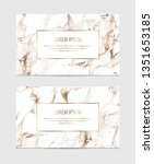 marble business cards with gold ... | Shutterstock .eps vector #1351653185