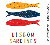 sardine motif clipart with... | Shutterstock .eps vector #1351686542