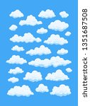 cartoon clouds isolated on blue ... | Shutterstock .eps vector #1351687508