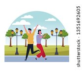 couple having fun and dancing | Shutterstock .eps vector #1351692605