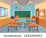kids in classroom | Shutterstock .eps vector #1351693412