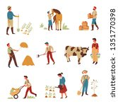 farming and agriculture farmers ... | Shutterstock .eps vector #1351770398