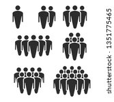 people crowd silhouette icons....   Shutterstock .eps vector #1351775465