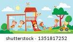 children playing on playground. ... | Shutterstock .eps vector #1351817252