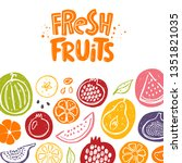 fresh fruits card. whole  half  ... | Shutterstock .eps vector #1351821035