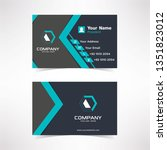 simple blue tosca business card ...   Shutterstock .eps vector #1351823012