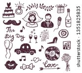 hand drawn doodle wedding... | Shutterstock .eps vector #1351825835