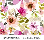 vintage old pattern with brown... | Shutterstock .eps vector #1351835408