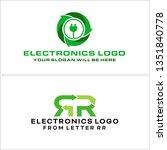 green black line art arrow plug ... | Shutterstock .eps vector #1351840778