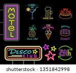 motel and disco club neon signs ...   Shutterstock . vector #1351842998