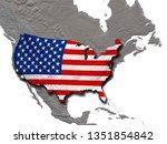 Usa Flag Shadow Above North - Fine Art prints