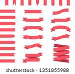 red ribbons flat design | Shutterstock . vector #1351855988