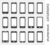 smartphone icons set on white... | Shutterstock . vector #1351856042