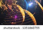 earth and stars from space.... | Shutterstock . vector #1351860755