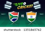 live cricket match concept with ... | Shutterstock .eps vector #1351865762